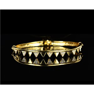 Gold colored metal bracelet Chic Collection set with Rhinestones D55mm L18cm clip clasp 75530
