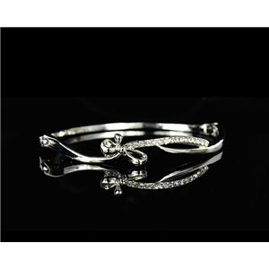 Bracelet métal couleur Argenté Collection Chic sertie de Strass D55mm L18cm fermoir a clip 75539