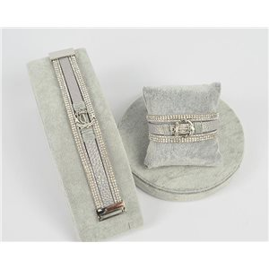 Bracelet Manchette Strass multirang L19cm Collection Ancre de Marine fermoir aimanté 25mm 75396