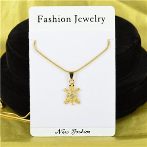 Necklace Rhinestones Pendant IRIS Gold Color Chain snake mesh L40-45cm 75886