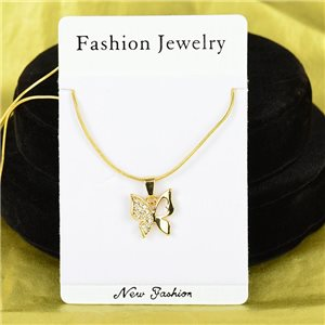 Necklace Rhinestones Pendant IRIS Gold Color Chain snake mesh L40-45cm 75888