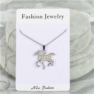 Rhinestone Pendant Necklace IRIS Silver Color Chain snake mesh L40-45cm 75861