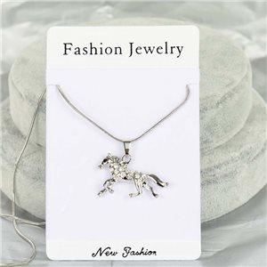 Rhinestone Pendant Necklace IRIS Silver Color Chain snake mesh L40-45cm 75863