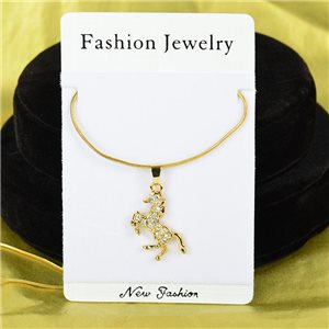 Necklace Rhinestones Pendant IRIS Gold Color Chain snake mesh L40-45cm 75868