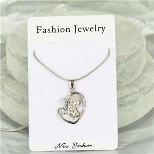 Rhinestone Pendant Necklace IRIS Silver Color Chain snake mesh L40-45cm 75889