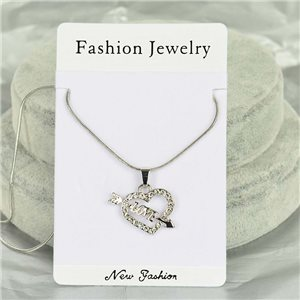 Rhinestone Pendant Necklace IRIS Silver Color Chain snake mesh L40-45cm 75897