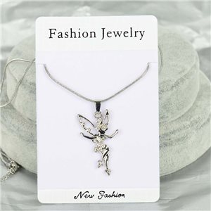 Rhinestone Pendant Necklace IRIS Silver Color Chain snake mesh L40-45cm 75901