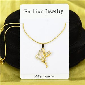 Necklace Rhinestones Pendant IRIS Gold Color Chain snake mesh L40-45cm 75906
