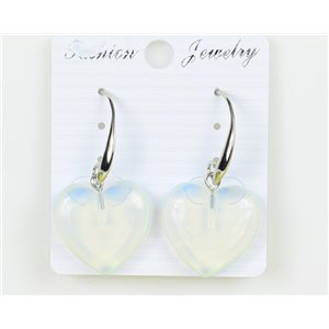 1p Earrings 20mm Natural Stone White Quartz on Silver Metal 75948