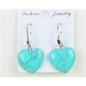 1p Earrings 20mm Natural Stone Turquoise on Silver Metal 75950