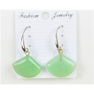 1p Earrings 20mm Natural Stone Aventurine on Silver Metal 75964