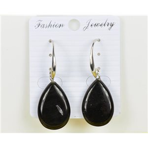 1p Earrings 25mm Natural Stone Obsidian on Silver Metal 75965