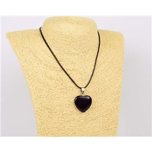 Necklace pendant 25mm natural stone Obsidian on waxed cord L43-47cm 75911