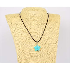 Pendant Necklace 20mm natural stone Turquoise on waxed cord L43-47cm 75919