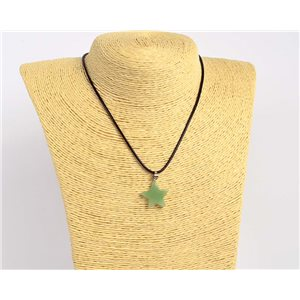 Pendant necklace 20mm natural stone Aventurine on waxed cord L43-47cm 75922