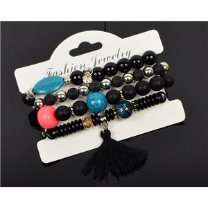 Bracelet CYBELE Manchette 4 rangs Collection Bead Charms et Bijoux sur fil élastic New Collection 75983