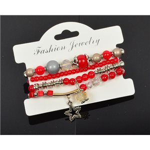 Bracelet CYBELE Manchette 4 rangs Collection Bead Charms et Bijoux sur fil élastic New Collection 75989