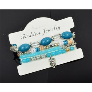 Bracelet CYBELE Cuff 4 Ranks Collection Bead Charms and Jewelry on Elastic Wire New Collection 75994