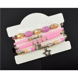 Bracelet CYBELE Cuff 4 Ranks Collection Bead Charms and Jewelry on Elastic Wire New Collection 75998