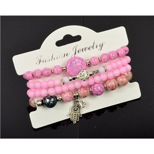 Bracelet CYBELE Manchette 4 rangs Collection Bead Charms et Bijoux sur fil élastic New Collection 76004