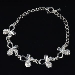 Bracelet métal Silver Color serti de Strass L19 cm The Best Collection Chic 76027