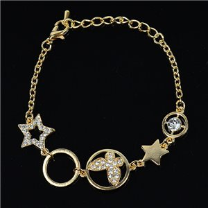 Bracelet métal Gold Color serti de Strass L19 cm The Best Collection Chic 76032