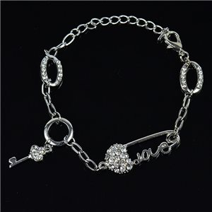 Bracelet métal Silver Color serti de Strass L19 cm The Best Collection Chic 76045
