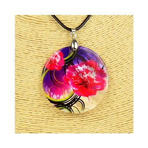 Collier Pendentif 5cm en Nacre naturelle Fashion Design L48cm New Collection 76198