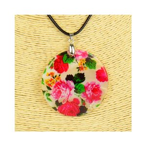 Collier Pendentif 5cm en Nacre naturelle Fashion Design L48cm New Collection 76199