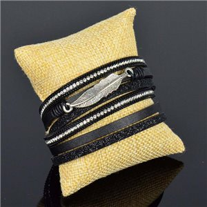 Cuff Bracelet Fashion Chic Leather Look and Rhinestone L38cm Magnetic clasp New Collection 76263