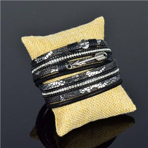 Bracelet manchette Mode Chic aspect Cuir et Strass L38cm fermoir Aimanté New Collection 76275