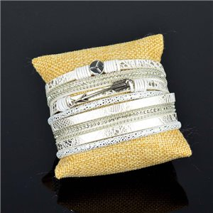 Bracelet manchette Mode Chic aspect Cuir et Strass L38cm fermoir Aimanté New Collection 76276