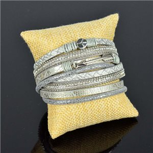 Bracelet manchette Mode Chic aspect Cuir et Strass L38cm fermoir Aimanté New Collection 76277