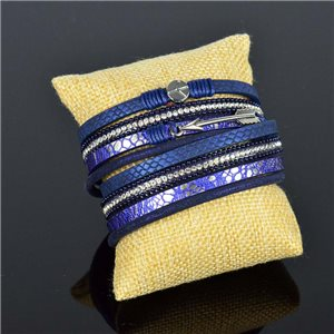 Bracelet manchette Mode Chic aspect Cuir et Strass L38cm fermoir Aimanté New Collection 76280