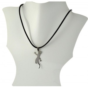 Necklace Pendant Brushed steel Shiny waxed cord on 66092