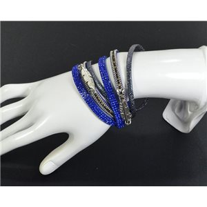 Chic Leather Bracelet Fashion appearance and Rhinestone Clasp Magnetic L39cm 67105
