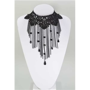 Ras necklace Neck Black Lace and Beads L32-40cm 67360