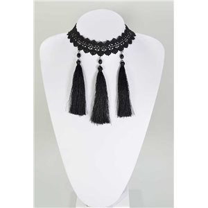 Ras necklace Neck Black Lace and Beads L32-40cm 67363