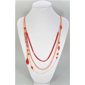 Long necklace Pompon and mix Beads Collection TOP L90cm 67346