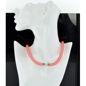 Collier Mode Resille et Strass fermoir aimanté L47cm 65659