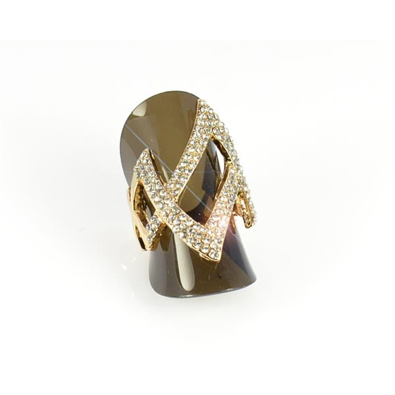 Full Rhinestones Gold Ring Adjustable Top New Design Collection ...