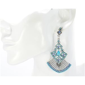 1p Boucles Oreilles CYBELE Full Strass Silver Collection Vintage 2016 68743