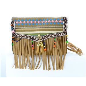 Woman wallet leather look and Fringes Pompon 18 * 13cm Ethnic Fabrics Collection 68783