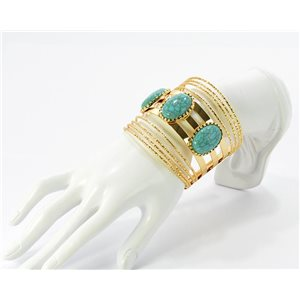 Beautiful Bracelet XXL gold metal set with Turquoise Fashion Chic 68793