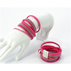 Rhinestone Bracelet Leather cuff side effect and magnetic closure Beads New Collection 68352