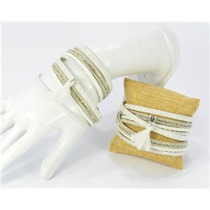 Rhinestone Bracelet appearance cuff Effect Leather and Pompon magnetic clasp New Collection 68368
