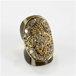 Adjustable Rhinestone Ring Full Rhinestone GOLD Vintage Collection 67618