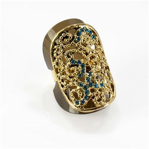 Adjustable Rhinestone Ring Full Rhinestone GOLD Vintage Collection 67759