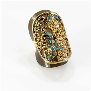 Adjustable Rhinestone Ring Full Rhinestone GOLD Vintage Collection 67761