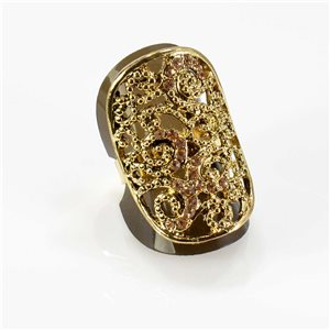 Adjustable Rhinestone Ring Full Rhinestone GOLD Vintage Collection 67762